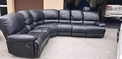 Leather corner black couch for sale