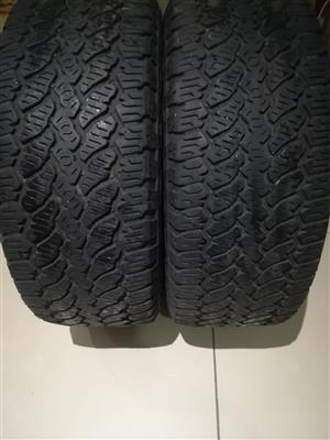 Two 80% tread 255/55/19 General Grabber Tyres dated 2017 R2000