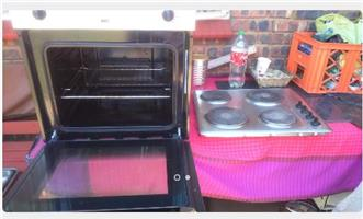 Stainless/Glass Oven and Stainless Solid Hob