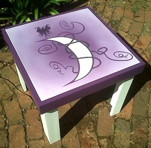 Children/kids Handmade painted wooden table with 2 chairs suitable for toddlers