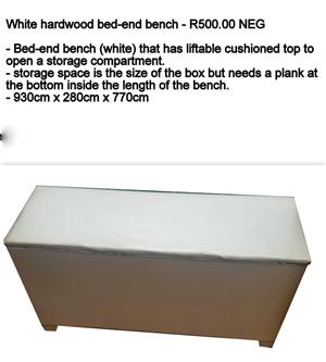 White hardwood bed end bench