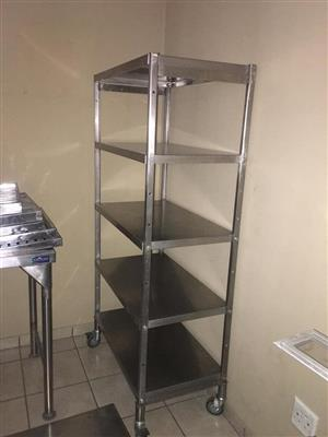 5 Tier silver food trolley