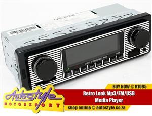 Retro Look Mp3 FM USB Media Player  - usb input - sd card input - 60w x 4 - bluetooth handsfree - fm tuner - remote control - mp3/wma media playback