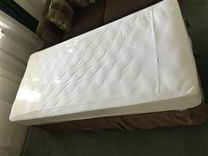 Bamboo (anti allergy) pillow top single base and mattress with mattress protector.