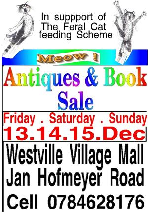 Buy your Christmas gifts at the Book and Antique Sale Westville Village market 13.14.15. Dec