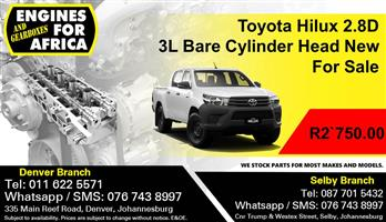 Toyota Hilux 2.8D 3L Bare Cylinder Head New For Sale.