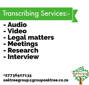 Freelance experienced transcriber available