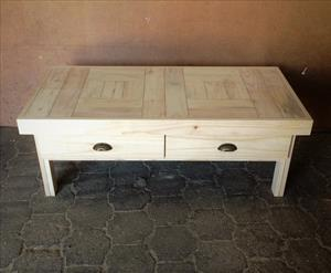 Coffee table Farmhouse series 1400 with drawers Raw