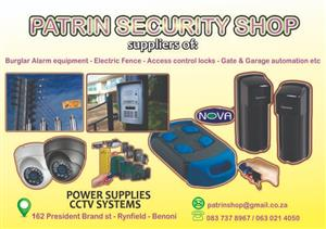 Gate motors, alarms,cctv, intercoms, batteries, power supplies etc