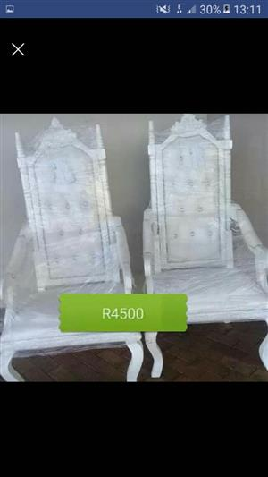 White victorian king and queen chair