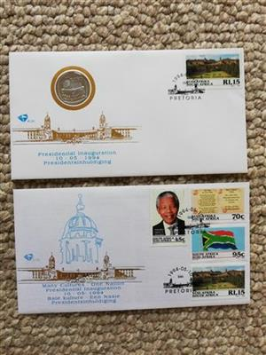 Used, Presidential Inauguration First Day Cover and R5 coin cover for sale  Umdloti