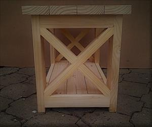Coffee table Chunky Cottage series 800 with crosses Raw