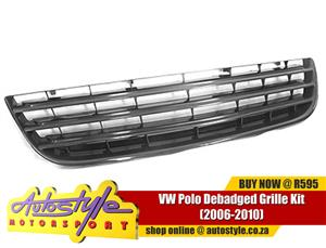 VW Polo Debadged Grille Kit 2006-2010 - black plastic grille - clips onto existing fitting - oem design & fit (ie. not plastic welded)