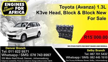 Toyota (Avanza) 1.3L K3ve Head, Block & Block New For Sale.