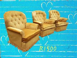 3 1 seater golden couches for sale