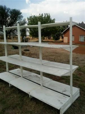 4 Tier white wooden garage shelves