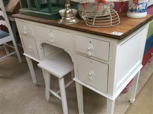 Ideal bathroom vanity or dreaser or your deak! Oak topped and white below new to U
