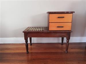 Yellow wood & imbuia telephone table