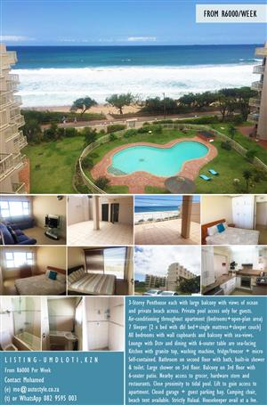 ideal for Muslim family with dietery restictions.  Halaal friendly accomodation KZN, self contained 3 storey penthouse UMDHLOTI, Umhlanga apartment flat 3-Storey Penthouse each with large balcony with views of ocean and private beach across. Private pool