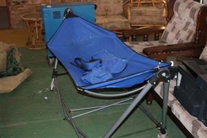 Blue camping stretcher
