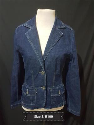 Size 8 dark blue denim jacket