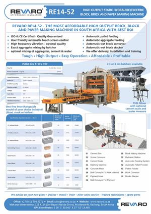 Brick making machine Revaro RE14-52 Fully automatic static hydraulic with remote assistance