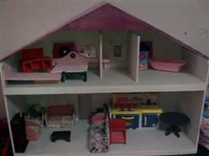Beautiful wooden dollhouse with furniture for sale