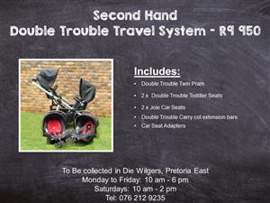 Second Hand Double Trouble Travel System (Black Joie Car Seats)