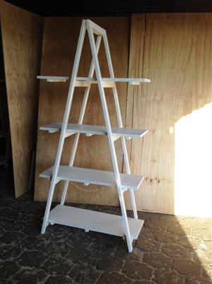 Trestle shelving Single A Frame 4 tier 2000 - White washed
