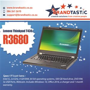 Powerful Lenovo ThinkPad T430 i5 2.6Ghz, 4Gb Ram, 500Gb Hd @ R3680