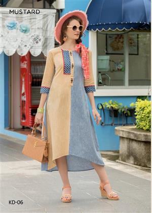 mugdha mustard khadi handwork soft linen designer fancy kurti wholesale price