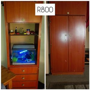 Wooden 2 door closet with shelf drawer stand