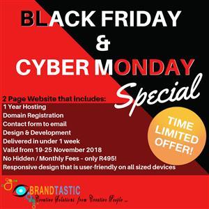 Black Friday & Cyber Monday WEB DEVELOPMENT SPECIAL @ R495!!!