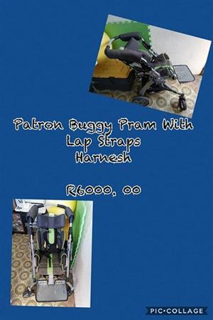 Patron Buddy Pram with Lap Straps and Harness