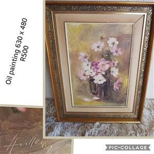 Floral framed oil painting for sale