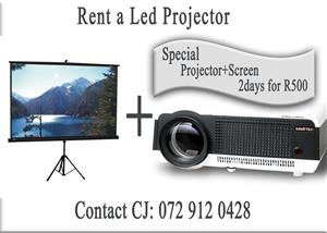 Rent a Led Projector with Screen R500/2days