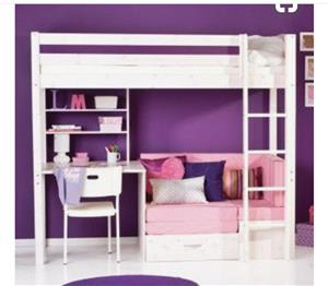 Kids bunkbed with desk and couch