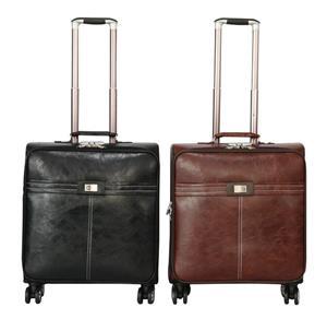 Faux Leather Trolley Cabin Laptop Briefcase Bag - Brown