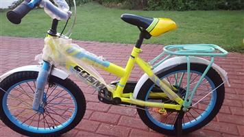 Yellow and blue Sosm kiddies bike