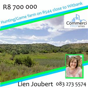 Vacant Game/Hunting farm close to Ezemvelo Nature Reserve on R544