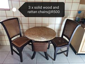 3 Solid wood and rattan chairs