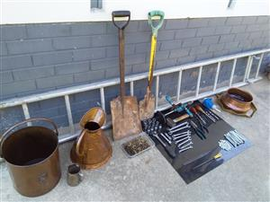 Ladder,copper pots,Gedore socket sethand tools.