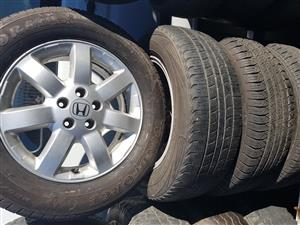 Honda Mag Rims and Tyres 225.65R17 for sale.