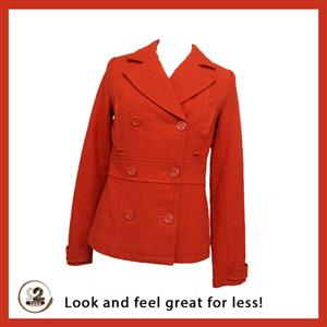 Visit our store today and get this red double breasted coat.