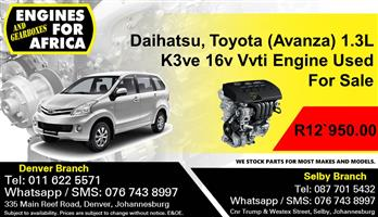 Daihutsu Sirion 1.3L k3ve 16v Vvti Engine Used For Sale