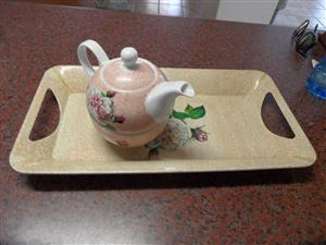 COLOURFUL TEA CUP, KETTLE AND TRAY