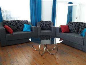 3 piece lounge suite with glass coffee table