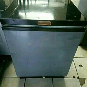 100 litres metallic silver with black finish chest freezer