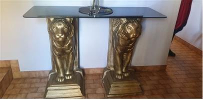 Sculptured Tiger Table For Sale.