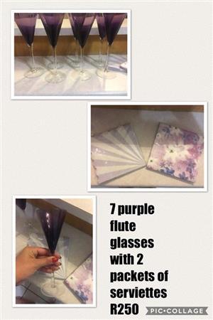 7 purple flutes glasses with serviettes for sale